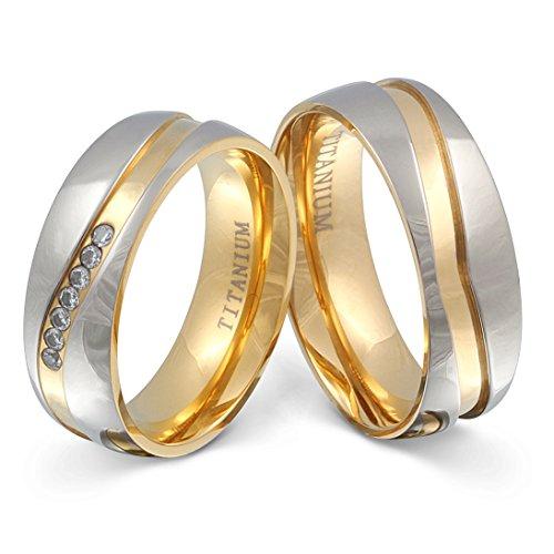 Juwelier Schönschmied - Zwei Titanringe Partnerringe Trauringe Almada Titan Zirkonia inkl. persönliche Wunschgravur 58-56 NrT11HD