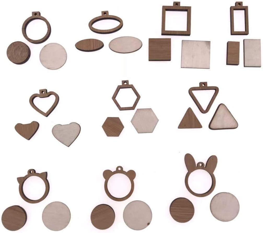10Pcs Set DIY Wooden Mini Round Frame Hoops Oval Jacksonville Mall Craft Max 45% OFF for Wood