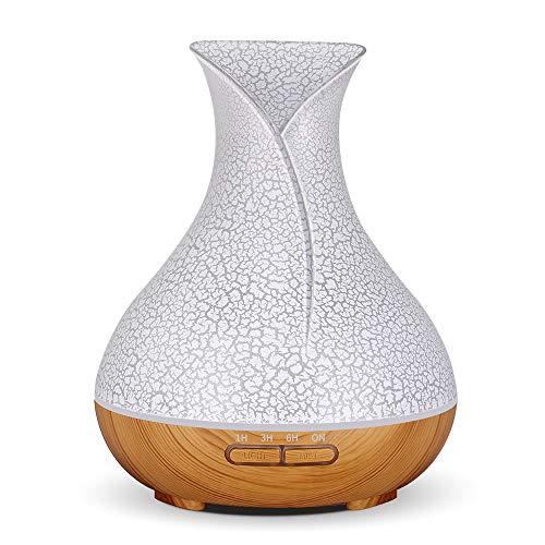 DEPNEE 400ml Diffusore di aromaterapia Umidificatore a nebbia fredda Grano di legno Top bianco (Grano di legno chiaro)