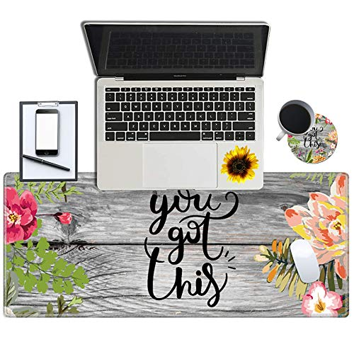 Gaming Mouse Pad, Spsun Desk Mat Keyboard Pad, Large Mousepad for Laptop with Stitched Edges Non Slip Base for Office Work Home Decor (with a Cute Coasters & Sticker) - Flower You Got This