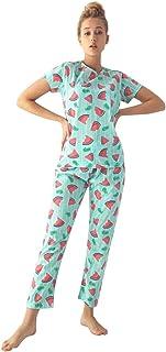 MUKA Women's 2-Piece Sleepwear T-Shirt and Pants Turkish Cotton Pajama Set
