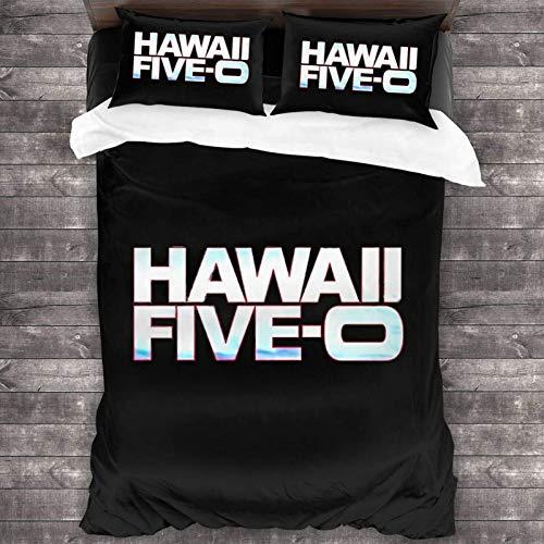 Hawaii Five O 3-teiliges Bettwäsche-Set, 213 x 178 cm, mit 2 Kissenbezügen und 1 Steppdecke, weich und bequem, leichter Mikrofaser-Bettbezug