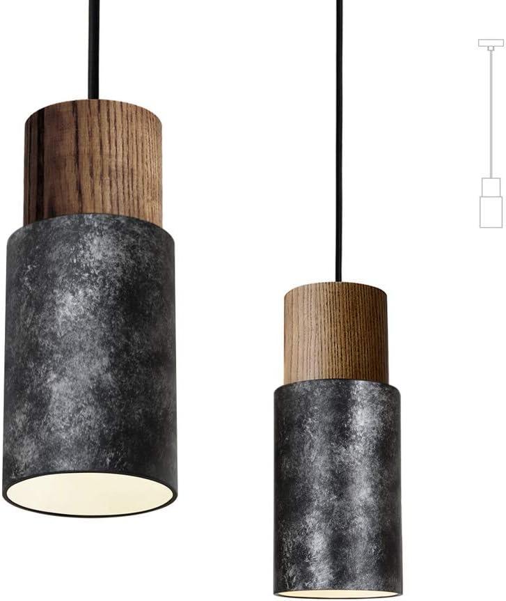 Matieres Industrial Vintage Lampada a sospensione in legno lampada a sospensione retro 1 pezzo ufficio ristorante per soggiorno attacco E27 bar colore: argento anticato