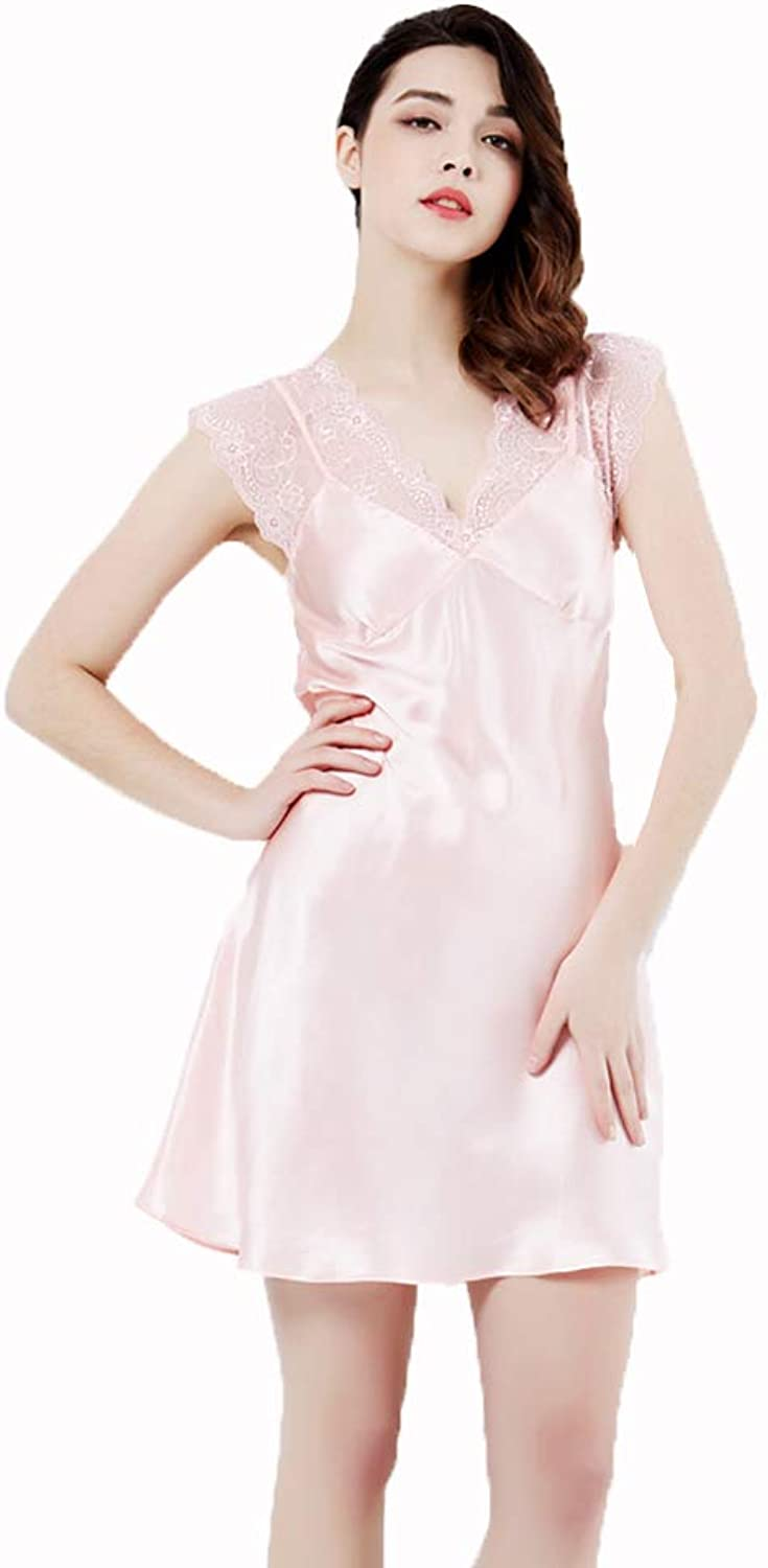 Lingerie, Sleep & Lounge Ladies Nightwear Silk Nightdress Summer Silk Nightgown Solid color Slim Home Service (color   Pink, Size   XL)