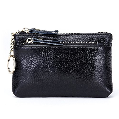 Aladin Leather Coin Purse with Key Chain – Triple Zipper Card Holder Wallet Black