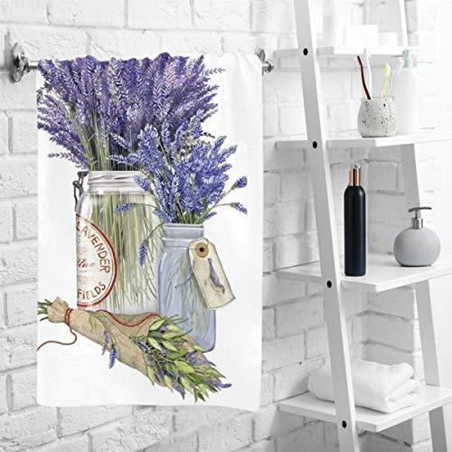"Wamika Vintage Lavender Flowers Hand Towels Beautiful Florals Bouquet Bee Face Towel Thin Soft Guest Towel Portable Kitchen Tea Dish Towels Washcloths Bathroom Decor Housewarming Gifts 16"" X 30"""