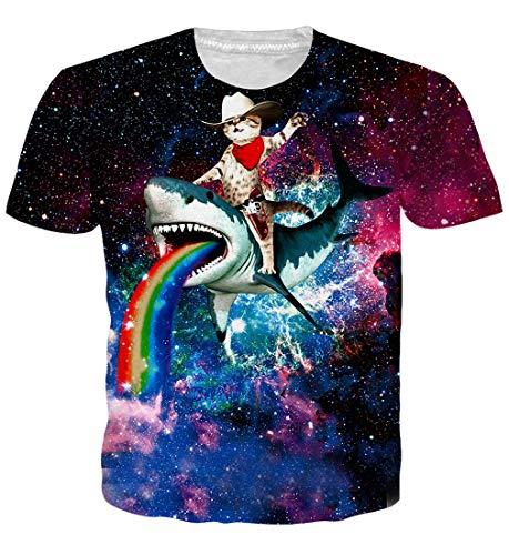 Goodstoworld Mens Womens T Shirt 3D Verano Cat Shark Print Casual de Manga Corta Camiseta Cool tee Tops Grandes