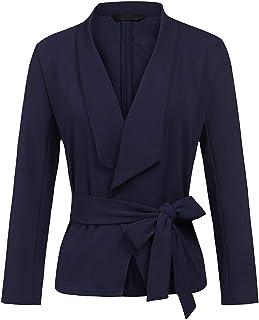 Lrady Women's Classic Draped Open Front Blazer Jacket Slim Work Cardigan Suit