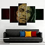 KAIASH 5 Partes póster Cuadro de Lienzo Bob Marley, ancestro del Reggae Que llora y se lamenta de Arte HD artísticos para Interiores
