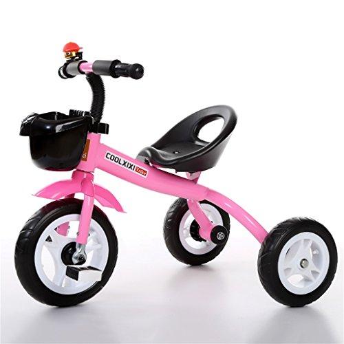 Triciclo Carro de bebé Bicicleta Niño Juguete Coche Rueda Inflable/Plástico Bicicleta de Rueda Adecuado para 1-2-3-4 años (Niño/niña) (Color : Pink, Tamaño : A)