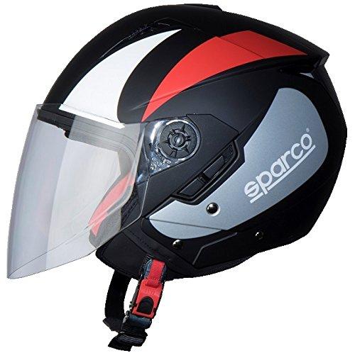 BHR 9037 Casco Moto, Nero Rosso Opaco, Taglia M