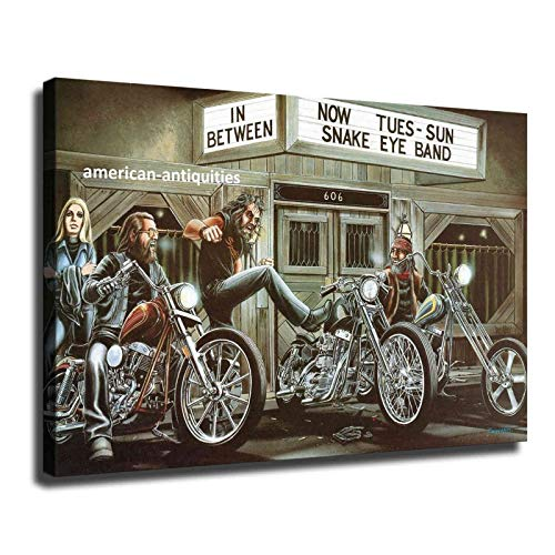 Dave-David-Mann-Biker-Art-Motorcycle-Poster Canvas Artwork Stretched Giclee Canvas Printing Hanging Wall Decor Ready to Hang (12x18 inch,Frame)