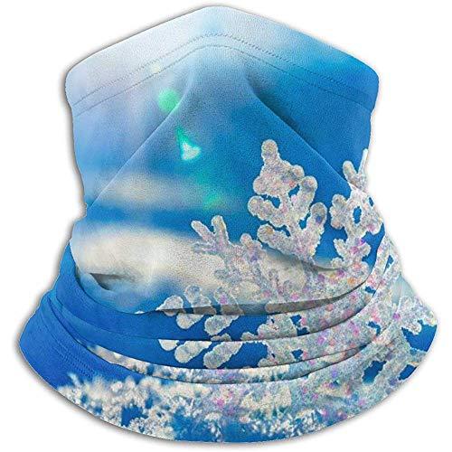Linger In Blue Snowflake Sunshine Neck Gaiter Face Mask Bandana Seamless Headband Ski Riding Running