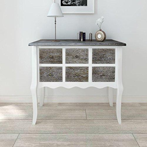 Lingjiushopping Console 6 tiroirs Gris et blanc Wood Matière : MDF, pin brossé Dimensions : 80 x 36 x 79 cm (L x l x H)