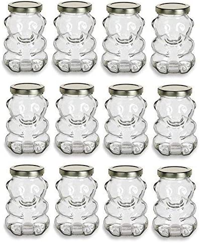 9 oz Glass Max 47% OFF Honey Bear Jars 12-Pack Can latest for Gold with Lids