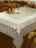 Crochet Vinyl Lace Tablecloth, 60' Wide X 90' Long Oblong, White (styles may vary)