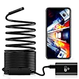 Cámara Endoscópica WiFi, Cámara de Inspección de 2,0 Megapíxeles HD con Luz LED Impermeable Endoscopio Cámara Borescope Rígido Cable Serpiente para Android iOS iPhone Tablet PC Smartphone - 5 Metros