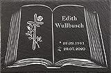 Urnengrabstein Buchmotiv mit Kreuz, Grabstein, Gedenkstein mit personalisierter Lasergravur, Naturschieferstein, 30 x 20cm 100% witterungsbeständig