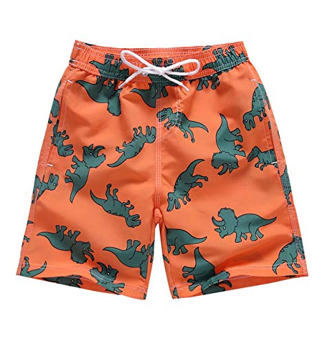 LAUSONS Boys Dinosaur Swim Trunks Adjustable Waist Kids Beach Shorts Quick Dry Boardshort Orange 3 4 Years