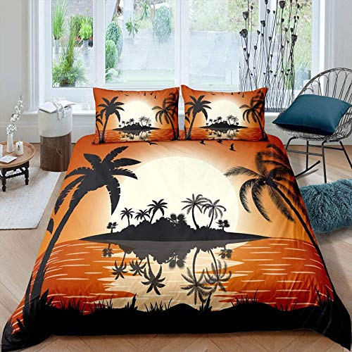 Msortatnl Microfibre Duvet Cover Set, Sunset Landscape Of Tropical Palm Tree Island - Super King (260 X 220 Cm)