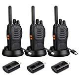 Retevis H-777 Walkie Talkies for Adults Emergency Flashlight 16CH Hand Free Rechargeable Two Way Radio with USB Charger (3 Pack)