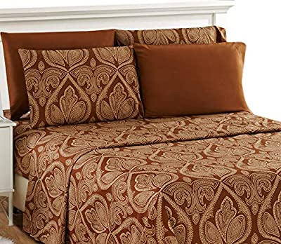 Lux Decor Collection Bed Sheet Set - Brushed Microfiber 1800 Thread Count Bedding - Wrinkle, Stain & Fade Resistant - Deep Pocket Queen Size Sheets Set - 6 PC (Queen, Paisley Brown)