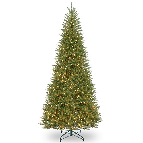 National Tree Company Pre-lit Artificial Christmas Tree | Includes Pre-strung White Lights and Stand | Dunhill Fir Slim - 12 ft