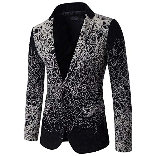 Cloudstyle Men's Casual Suit Jacket Single-Breasted Slim Fit Party Wedding Coat