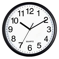 Bernhard Products Black Wall Clock Silent Non Ticking 10 Inch Quality Quartz Battery Operated Round Easy to Read Home/Kitchen/Office/Classroom/School Clocks, Sweep Movement