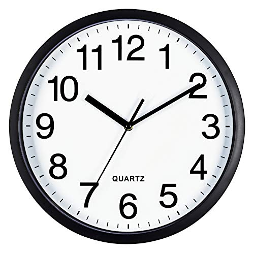 Bernhard Products Black Wall Clock Silent Non Ticking 10 Inch Quality Quartz Battery Operated Round Easy to Read Home/Office/Classroom/School Clock, Sweep Movement