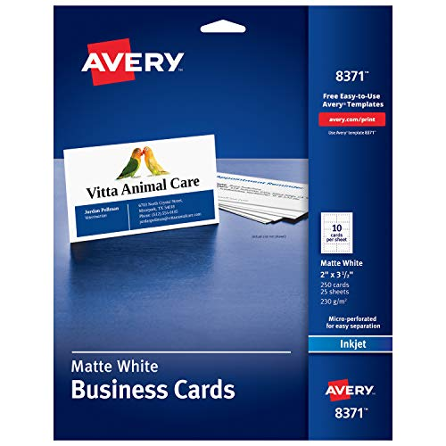 """Avery 2"""" x 3.5"""" Business Cards, Sure Feed Technology, for Inkjet Printers, 250 Cards (8371), White"""