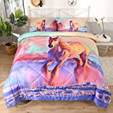 ENJOHOS 3D Horse Bedding for Girls Full Size Pink Purple Comforter with White Snow and Farm House Print 3 Pieces Ultra Soft Kids Duvet Lightweight All Year Round Bedspread