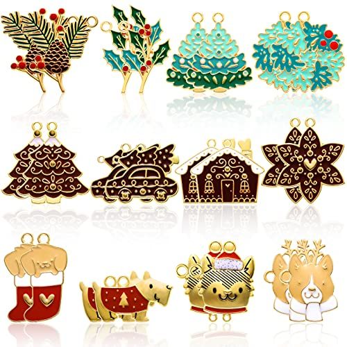 24 Pieces Christmas Charm Pendants Reindeer Embellishment Enamel Charms Assorted Gold Plated Xmas Pendants for Necklace Bracelet Jewelry Making Clothes Sewing Bags Decoration DIY Scrapbooking Supply