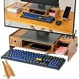 Soporte para monitor, elevador de madera con soporte para smartphone, para monitores, ordenadores portátiles y ordenadores de hasta 15 kg (50 x 10 x 20 cm), multifuncional, de madera, color marrón
