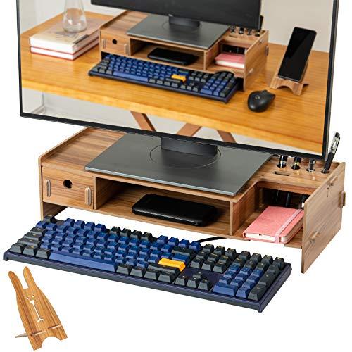 Monitorständer, Holz Monitorerhöhung mit Smartphone-Halter, für Monitore, Laptop, Computer Bis Zu 15Kg (50*10*20cm), Multifunktional Holz monitorständer(Braun)