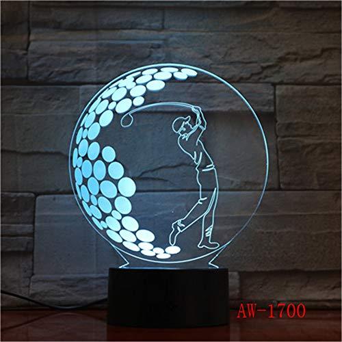 jiushixw 3D acryl nachtlampje met afstandsbediening van kleur veranderende tafellamp spelen golf image film transparant nacht fairy Lanpa tafellamp schommel