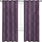 Sun Blackout curtains with grommets darken, Esoteric Pattern with Hand Drawn Style Figures Sun with a Face and Stars Cosmos Magic, 2 panels per group W52 x L72 Inch Dark Mauve