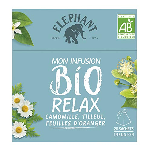 Elephant Infusion Bio Relax Camomille, Tilleul & Feuilles d'Oranger 20 Sachets