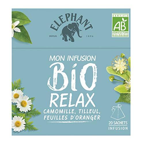 Elephant Infusion Bbio Relax Camomille, Tilleul & Feuilles dOranger 20 Sachets