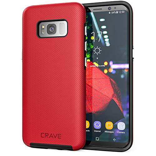 Crave Dual Guard for Samsung S8 Case, Shockproof Protection Dual Layer Case for Samsung Galaxy S8 - Red