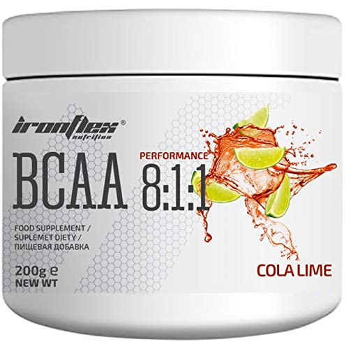 IronFlex BCAA 8:1:1-1 Pack - Branched Chain Amino Acids in Powder - Muscle Regeneration - Anticatabolic (Cola Lime, 200g)