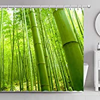 GooEoo 竹林のシャワーカーテン3Dプリント12フック付き防水コートポリエステル生地の浴室71インチ