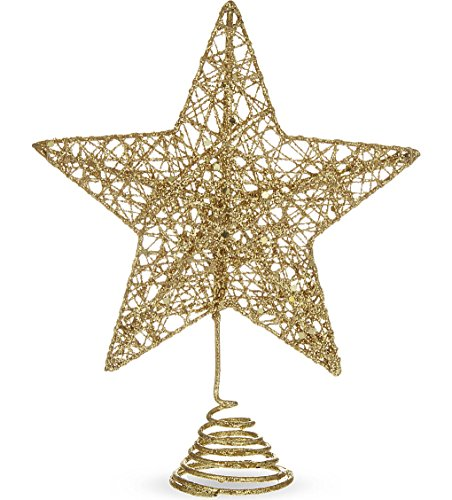 Gold Colour Glitter Tree Top Star - 15cm by Gisela Graham
