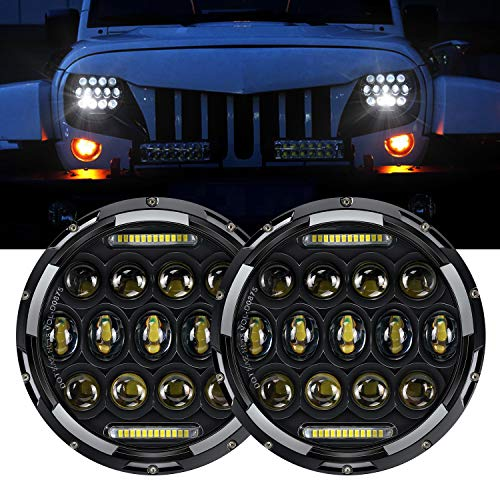 DOT Approved LED Headlight 7' 75W Round LED Headlamp with Daytime Running Light DRL Amber Turn Signal High Low Beam For Wrangler JK TJ LJ CJ Hummer H1 H2 Motorcycle Mazda Miata with H4 H13 Adapter