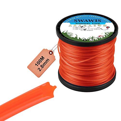 SWAWIS Hilo para desbrozadora Estrella Naranja 2,8mm x 100m Professional Hilo Desbrozadora para Jardin Hierba