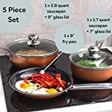 Non-Stick Cooking Pans and Pots Set - 5 pcs Oven Safe Copper Cookware - Induction Hob Saucepan Pots with Lids - Kitchenware Frying Pan - by Nuovva