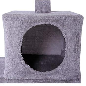 dibea Arbre à chat avec griffoir / centre d'activités - 50 x 30 x 80 cm - Gris clair