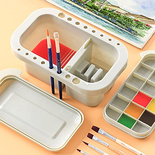 Artist Multifunction Paint Brush Basin with Brush Holder, Palette and Color box for Watercolor Oil Acrylic Gouache Painting