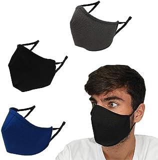 Mascarilla de tela unisex higiénica, lavable y homologada para adultos. Pack de 3 lisas, estampadas y reversibles en difer...