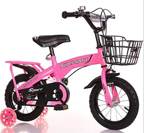 Kinderfahrrad Mit Stützrädern 12 14 16 18 Zoll Fahrrad Für 2-9 Jahre Altes Kind Mit Korb, Schnellverstellbarer Sitz Und Griff, Geschlossener Kettenschutz,Rosa,18Inch